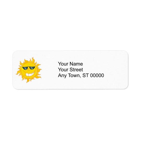 cool dude sun sunshine return address label