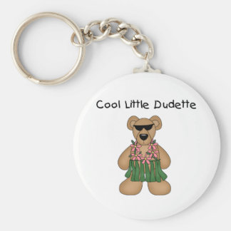 Cool Dudette Basic Round Button Key Ring