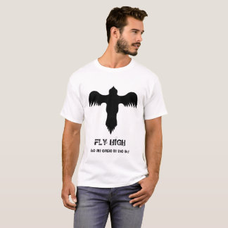 Cool Eagle Logo Black White Fly High Quote T-Shirt