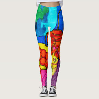 Cool Early Morning Impressionism Collage Leggings