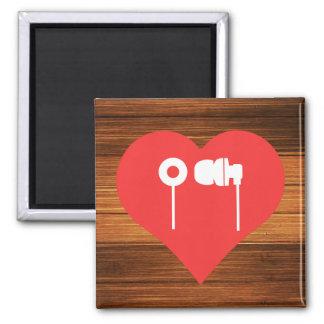 Cool Earphones Pictograph Square Magnet