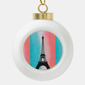 Cool Eiffel Tower Paris colourful background Ceramic Ball Decoration