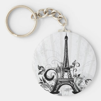 Cool Eiffel Tower swirls dots splatters butterfly Basic Round Button Key Ring
