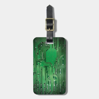 Cool Elegant Green Circuit Board Black Luggage Tag