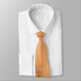 Cool elegant light brown bamboo wood print tie