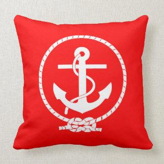 Cool Elegant Nautical Anchor Red Cushion