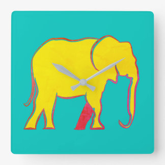 Cool Elephant Minimal Yellow Bright Blue Vibrant Square Wall Clock
