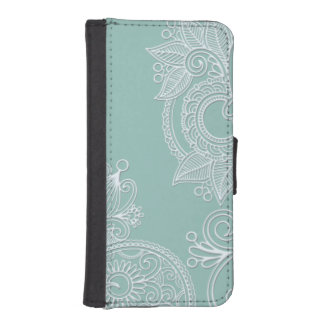 Cool Embossed White and Mint Paisley iPhone SE/5/5s Wallet Case