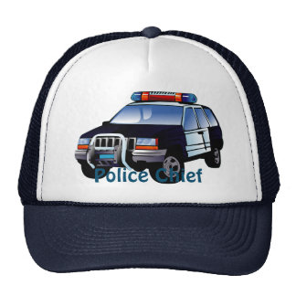 Cool Emergency Police Car Cartoon Design for Kids Mesh Hats