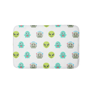 Cool Emoji Alien Ghost Robot Face Pattern Bath Mat