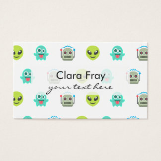 Cool Emoji Alien Ghost Robot Face Pattern Business Card