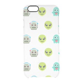 Cool Emoji Alien Ghost Robot Face Pattern Clear iPhone 6/6S Case