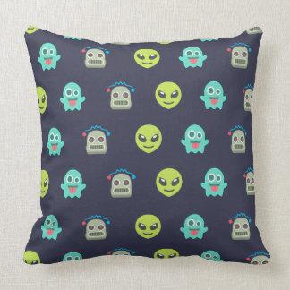 Cool Emoji Alien Ghost Robot Face Pattern Cushion