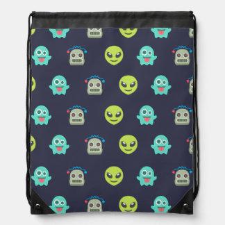 Cool Emoji Alien Ghost Robot Face Pattern Drawstring Bag