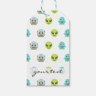 Cool Emoji Alien Ghost Robot Face Pattern Gift Tags