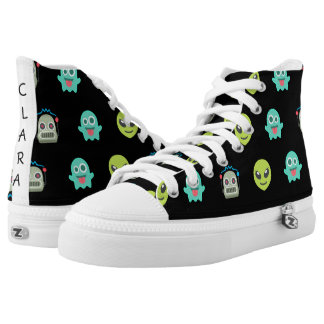 Cool Emoji Alien Ghost Robot Face Pattern High Tops