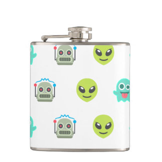 Cool Emoji Alien Ghost Robot Face Pattern Hip Flask
