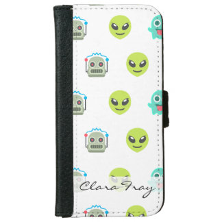 Cool Emoji Alien Ghost Robot Face Pattern iPhone 6 Wallet Case