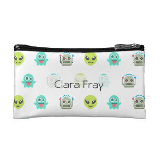 Cool Emoji Alien Ghost Robot Face Pattern Makeup Bag