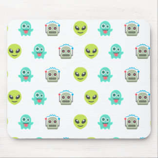 Cool Emoji Alien Ghost Robot Face Pattern Mouse Pad