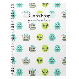 Cool Emoji Alien Ghost Robot Face Pattern Notebook