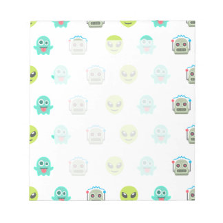 Cool Emoji Alien Ghost Robot Face Pattern Notepad