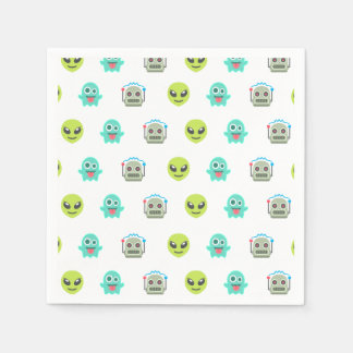 Cool Emoji Alien Ghost Robot Face Pattern Paper Serviettes