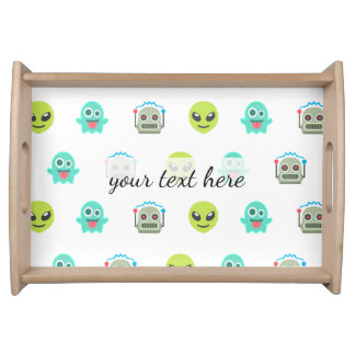 Cool Emoji Alien Ghost Robot Face Pattern Serving Tray