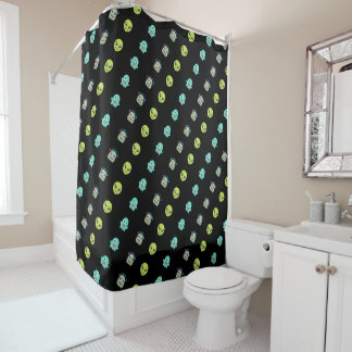 Cool Emoji Alien Ghost Robot Face Pattern Shower Curtain