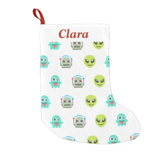 Cool Emoji Alien Ghost Robot Face Pattern Small Christmas Stocking