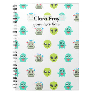 Cool Emoji Alien Ghost Robot Face Pattern Spiral Notebook