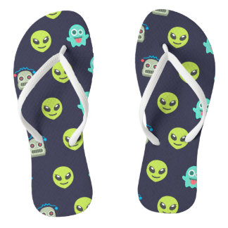 Cool Emoji Alien Ghost Robot Face Pattern Thongs
