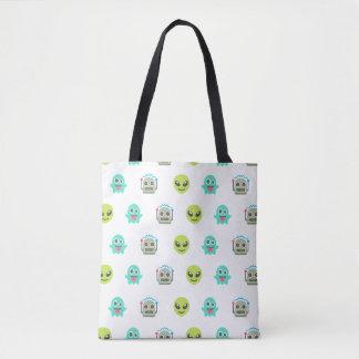 Cool Emoji Alien Ghost Robot Face Pattern Tote Bag