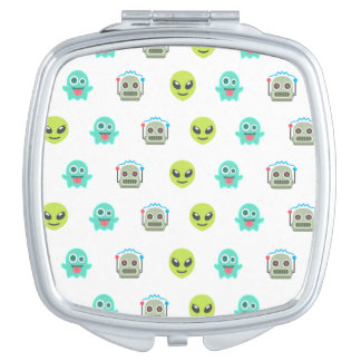 Cool Emoji Alien Ghost Robot Face Pattern Travel Mirror