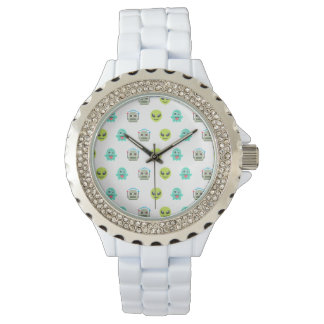 Cool Emoji Alien Ghost Robot Face Pattern Watch