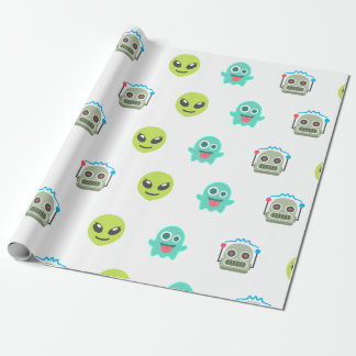 Cool Emoji Alien Ghost Robot Face Pattern Wrapping Paper