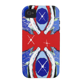 Cool Extreme Sports Art Red & Blue iPhone 4 Case