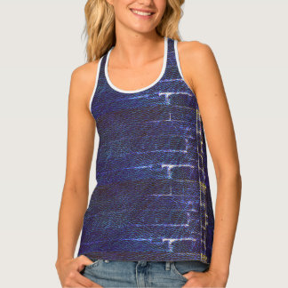 Cool Faded Blue and White Leather Look Tank Top