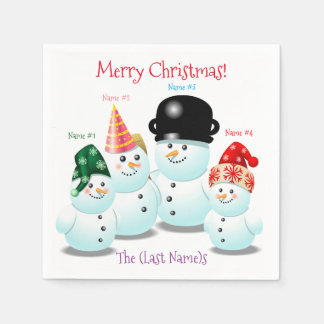 Cool Family Of Snowmen Cartoon Disposable Serviettes
