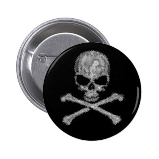 Cool fantasy skull and crossbones button