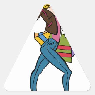 Cool Fashion Girl Shopping Triangle Sticker
