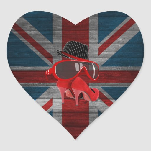 Cool fashion hat red glasses shoes union jack flag sticker