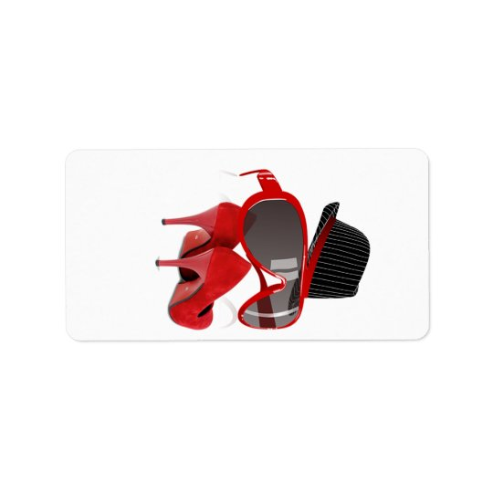 Cool Fashion ladies red hat shoes & glasses Address Label