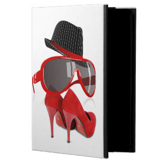 Cool Fashion ladies red hat shoes & glasses Case For iPad Air