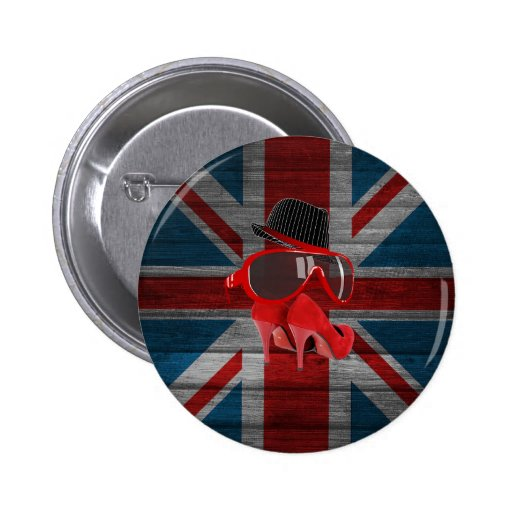 Cool fashion red hat shoes glasses union jack flag pinback buttons