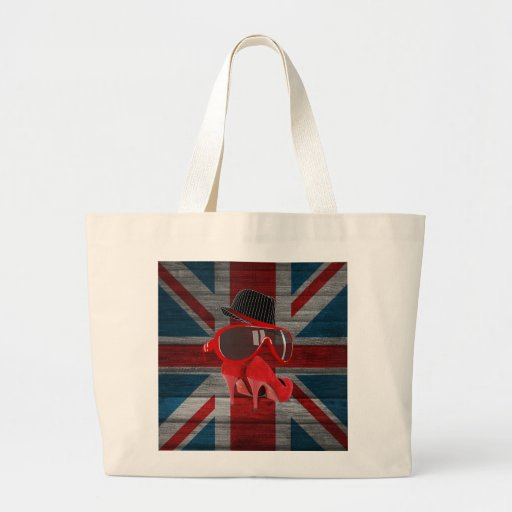 Cool fashion red hat shoes glasses union jack flag tote bags