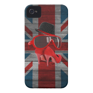 Cool fashion red hat shoes glasses union jack flag iPhone 4 Case-Mate case
