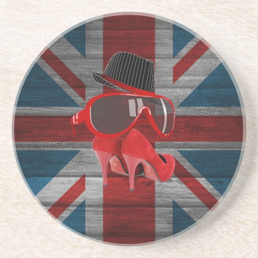 Cool fashion red hat shoes glasses union jack flag coaster