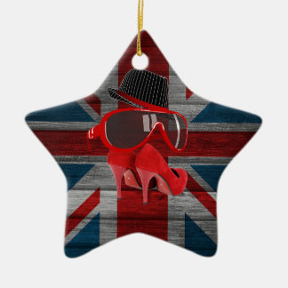 Cool fashion red hat shoes glasses union jack flag christmas tree ornament
