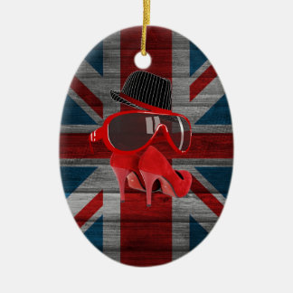Cool fashion red hat shoes glasses union jack flag ornaments
